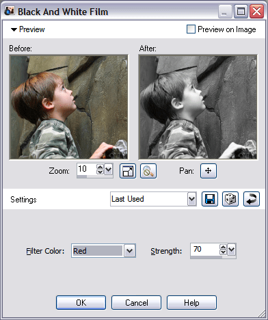 Paint Shop Pro Photo XI Black and White Film Photo Effect - filter options dialog box
