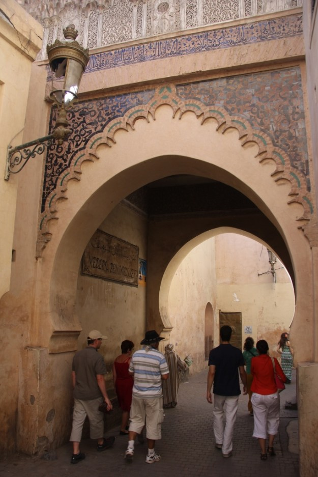 Next to the impressive 14th-century Ali ben Youssef medersa (Islamic school) we visited.