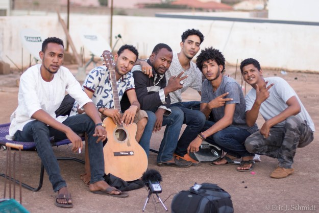 Aratane N'Akal, a group of young Tuareg musicians from northern Mali now living in Bamako, with friends