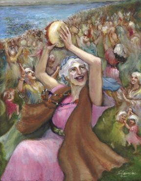 """Miriam Dances and Sings to the Lord,"" an original oil painting by Slavujac, 2001"