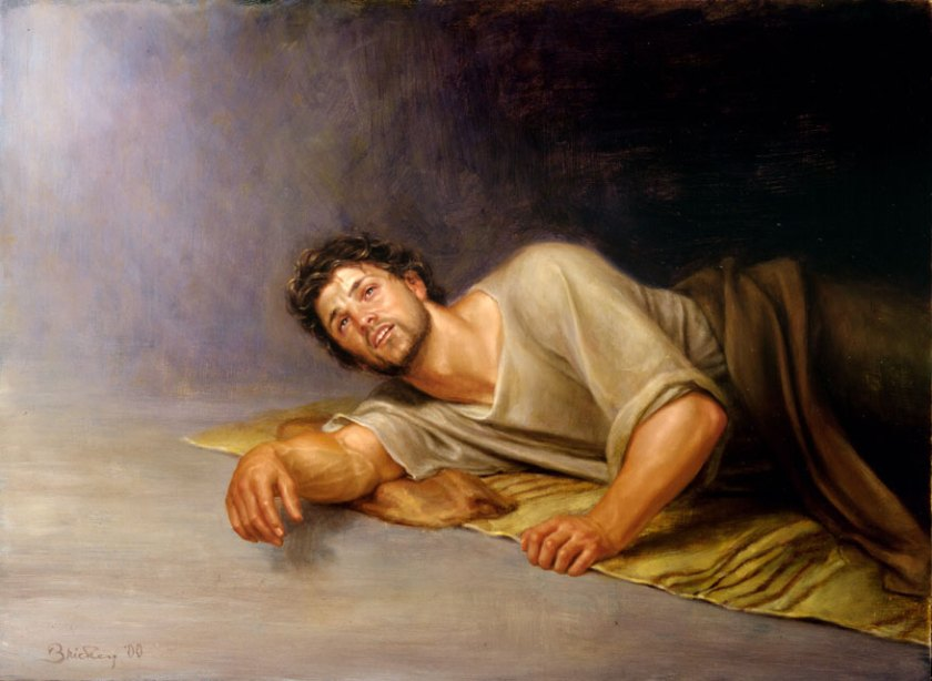 I love this image of Joseph, freshly awakened and ready to obey the Lord's command. I found the image here.