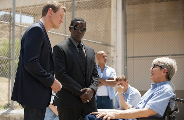 """THE PLAYER -- """"The Big Blind"""" Episode 103 -- Pictured: (l-r) Philip Winchester as Alex Kane, Wesley Snipes as Mr. Johnson, Eric Roberts as Pauly Agostino -- (Photo by: Colleen Hayes/NBC)"""