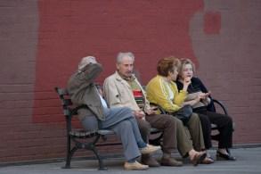 Friends on a Boardwalk Bench