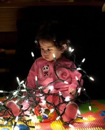 Scarlett and Christmas Lights