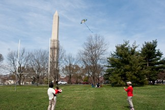 Danielle flying a Kite in DC
