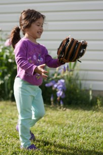 Scarlett plays baseball with first glove-12