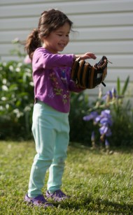 Scarlett plays baseball with first glove-14