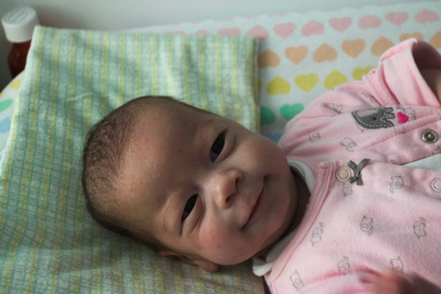 At least up to 3 months, Stella often made you work for a smile. She never gave them away as readily as Sam did.