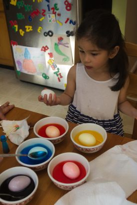 All the eggs absorbing colors