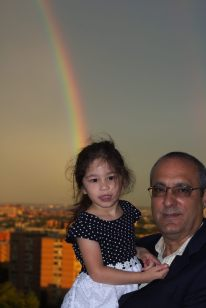 Scarlett and Abuelo Roman at Dan's Engagement Party (and a rainb