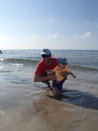 Sam's first time with the waves