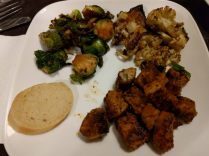 Pinchos Morunos, Brussels Sprouts, and Curry-Mint Roasted Cauliflower