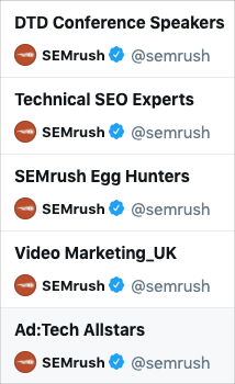 SEMrush maintains Twitter lists to see what problems are trending among influencers