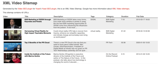 An example of an XML video sitemap to help Google show videos in SERPs