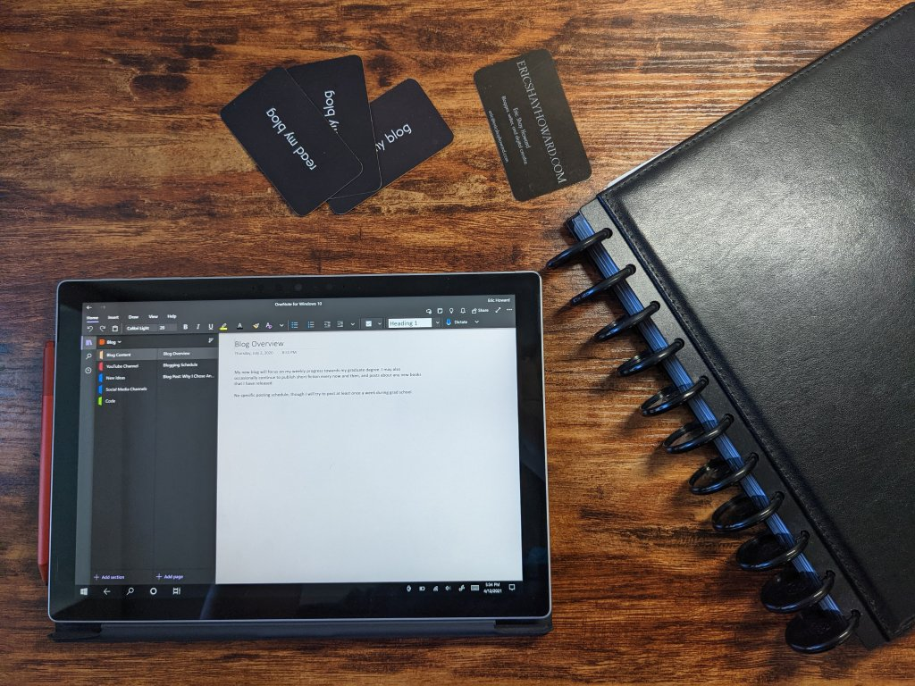 My notes on my Microsoft Surface Pro 7 and my disc-bound notebook system from staples