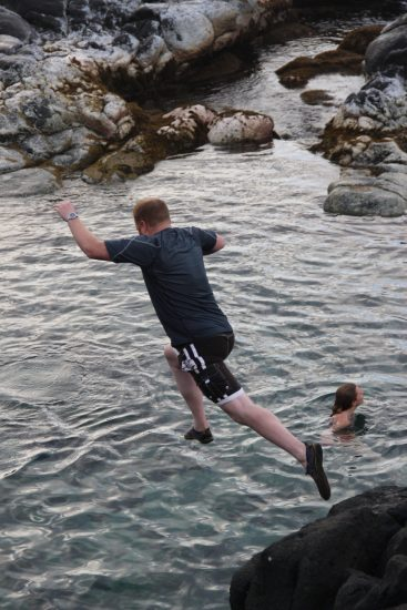 Jumping into Queen's Bath