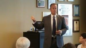 Attorney Eric Torberson teaching animal law class at Austin Bar Association