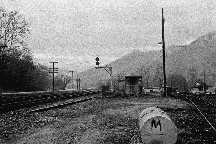 """Nolan, WV, February 1993 David's deliberate camera positioning and framing of the made-made """"trash"""" here go against conventions in the railroad photography genre. Photograph by David Kahler and courtesy of the Center for Railroad Photography & Art"""