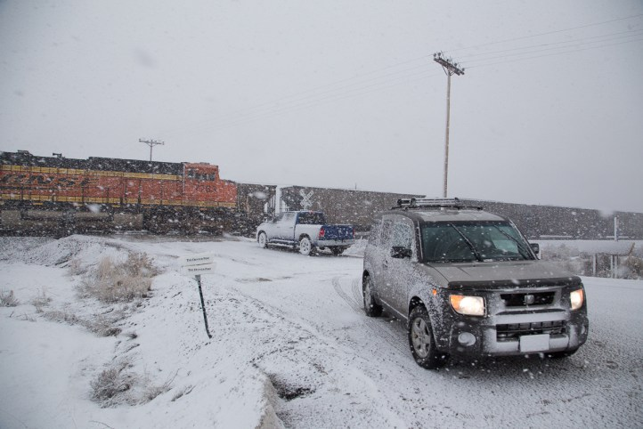 We wait at Parshall siding for the BNSF train to pass and the coal train to proceed.