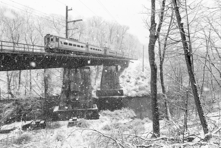 A Gladstone bound train crosses the Passaic River on the first day of Spring! a