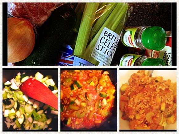Courgette Bolognese stap by step