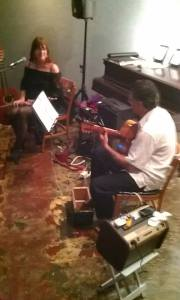 erika may and Farshid sound checking at Gallery Zeke in Steelville, MO