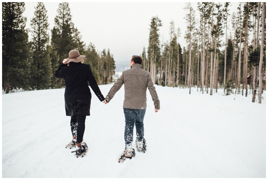 Snowshoeing engagement in Winter Park, Coloado