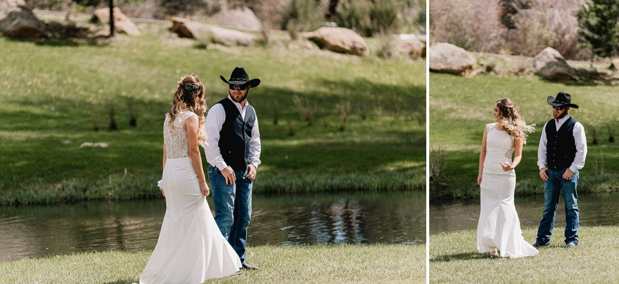 bride and groom's first look at black canyon inn
