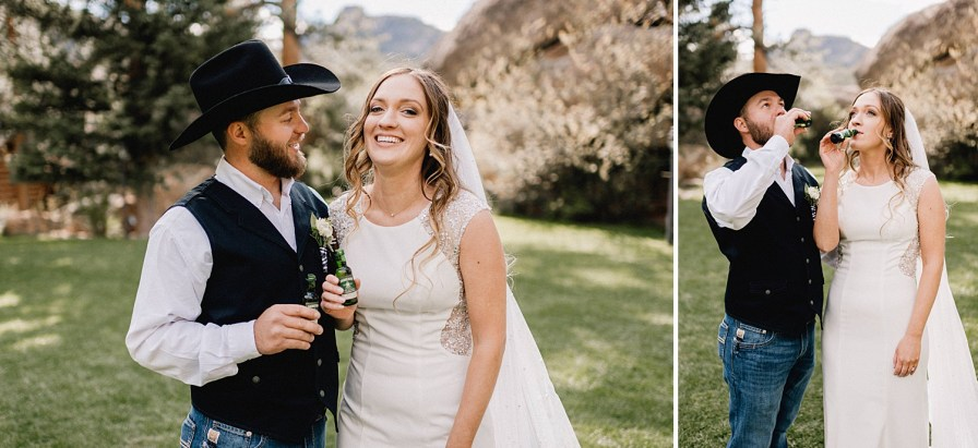 bride and groom take a shot together after ceremony at the Black Canyon Inn