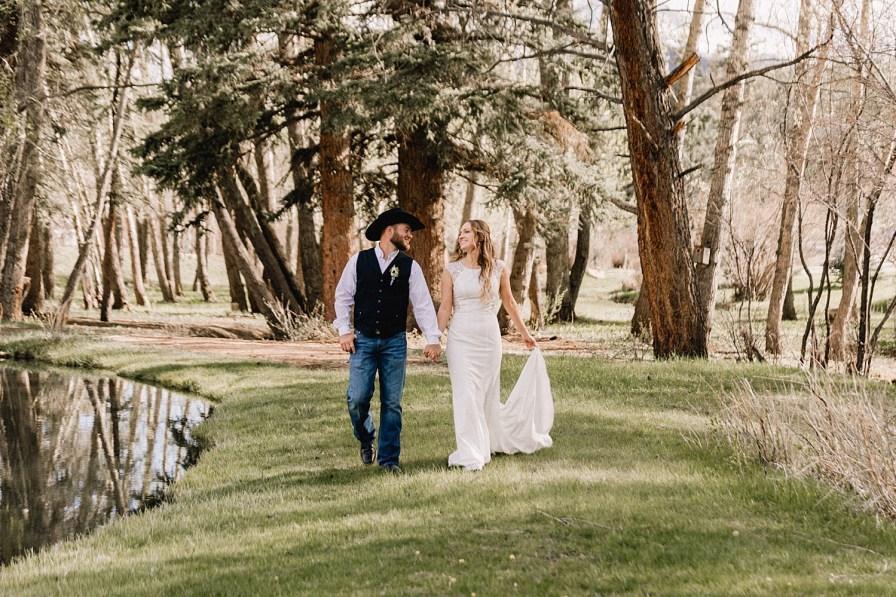 Bride and groom enjoy their springtime wedding at Black Canyon Inn
