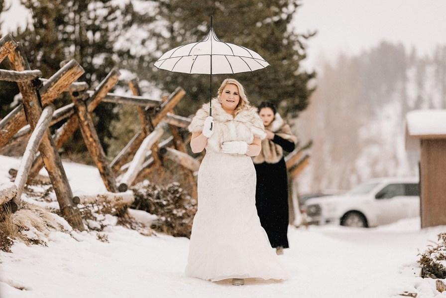 Bride in fur shawl walking to Sapphire Point elopement