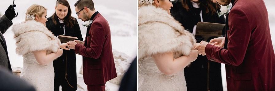 Ring exchange at winter elopement