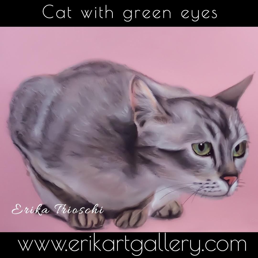 www.erikartgallery - Cat with green eyes