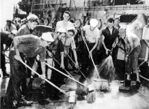 Sailors scrubbing radiation.