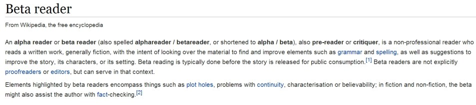 Definition of Beta Reader from Wikipedia