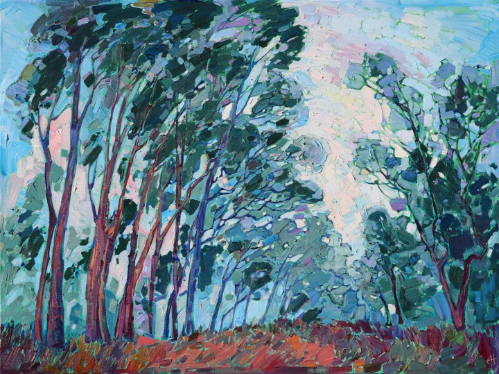 Scripps Ranch eucalyptus trees, painting by Erin Hanson