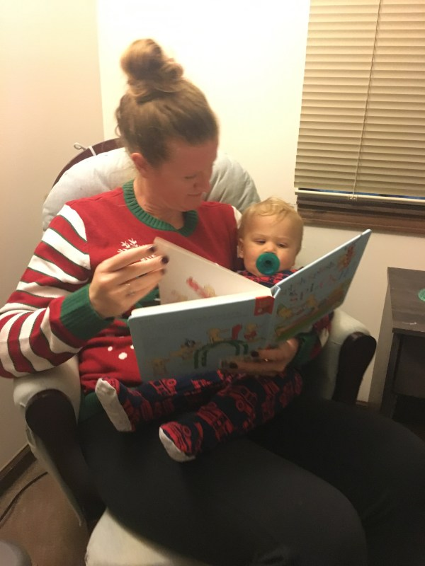Reading bedtime stories with Aunt Cori