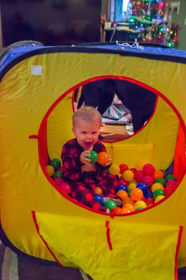 Playing in the ball pit Aunt Cori got him for Christmas