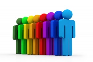 Rainbow of People Stock Art