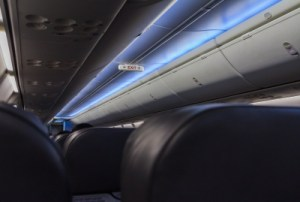 Empty Airplane Seats In The Cabin Stock Photo