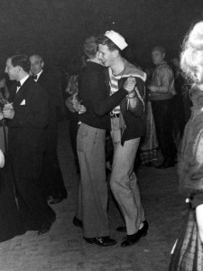 A gay couple dancing at the Chelsea Arts New Year's Eve Bal
