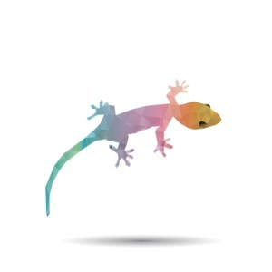 Abstract Geckos Isolated On A White Backgrounds Stock Photo