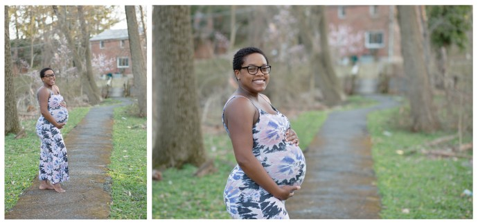 pregnant mommy in the park among trees, grass, and flowers