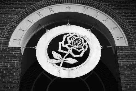 Tyler Texas Airport features a symbolic rose, as the town is known for its famed rose industry and Rose Festival.