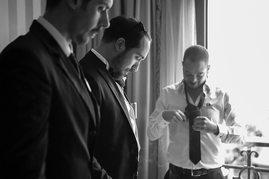 Groom and best men getting ready