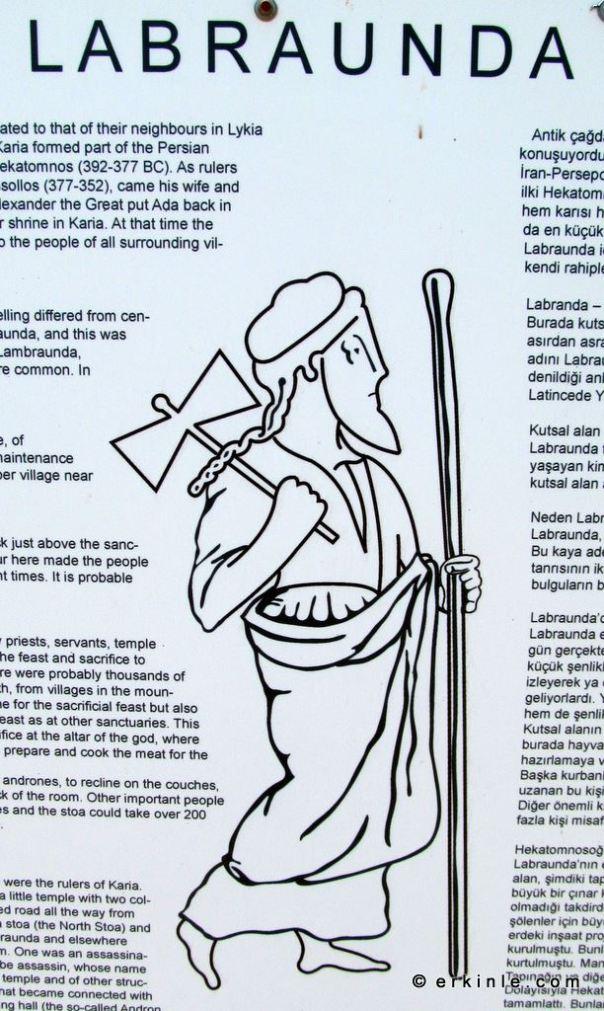 Çift baltalı tanrı Zeus Labraundos (Ζεὺς Λάβρανδος)
