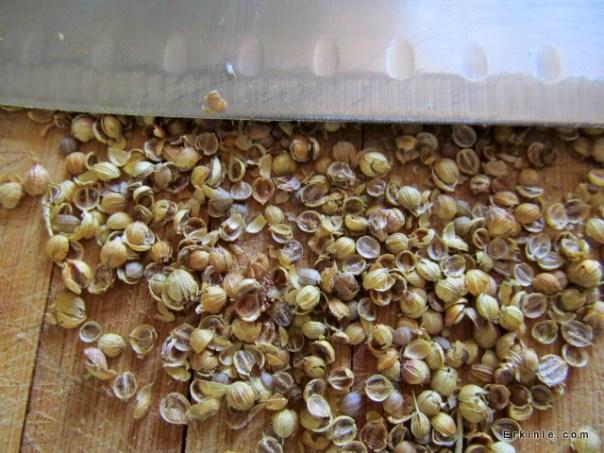 Kişniş tohumları çıtlatıldıktan sonra