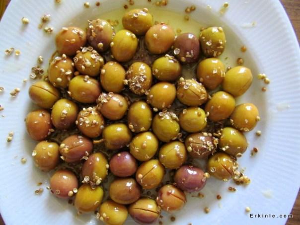 Kişniş tohumları çıtlatılıp zeytinlere serpeleniyor