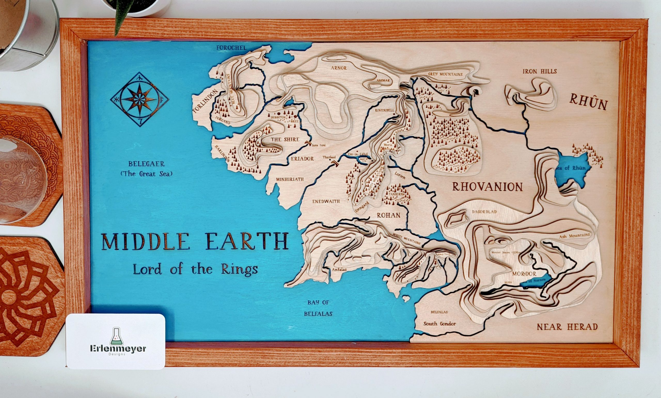 11 X 19 Lord Of The Rings Middle Earth Topographic Map