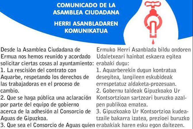 La Asamblea Ciudadana de Ermua solicita rescindir el contrato con Aquarbe
